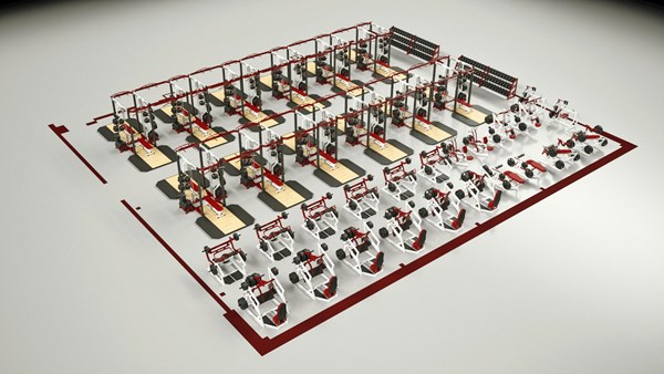 Concept rendering for Athens High School weight room
