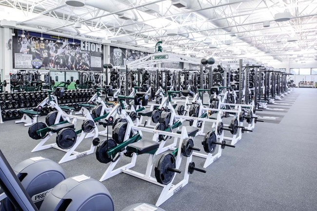 Pendulum Dual Rack XL's & Pendulum 5-way neck machines at Michigan State University football weight room