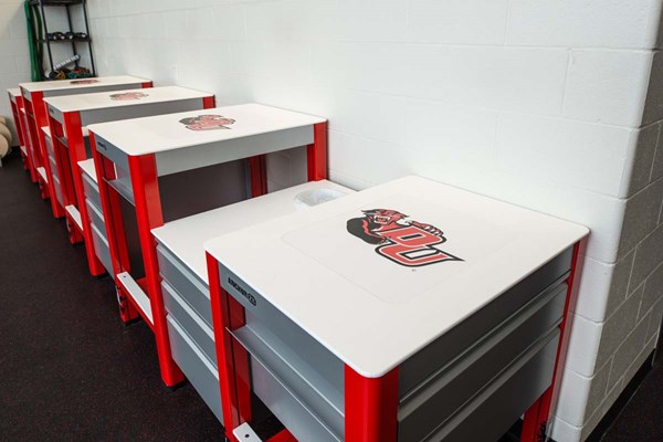 Impact Athletic Anchor 2X athletic training tables with custom logos at Davenport University