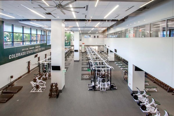 High level shot of the Colorado State University Weight Room
