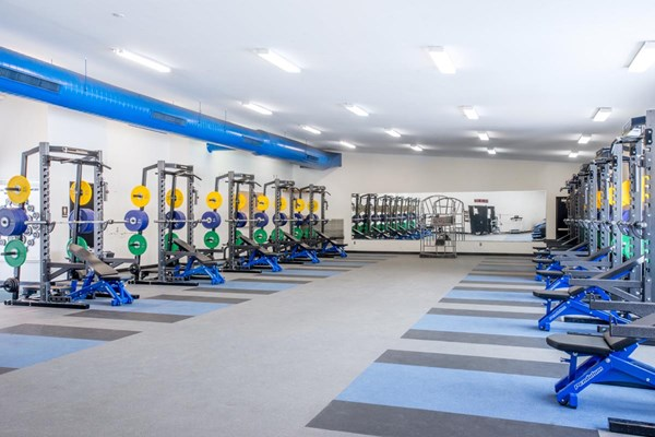 Full room shot of the Pendulum weight room at Grand Valley State University
