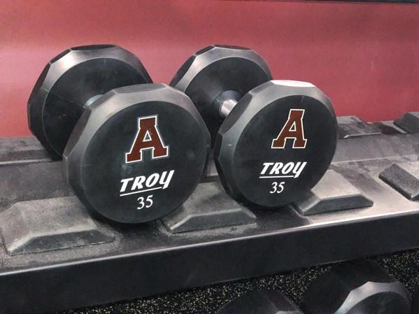Rogers supplied these custom Troy Dumbbells with the Alma Logo.