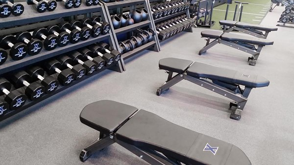 Pendulum Utility Benches at Xavier University (with custom head rest wraps)