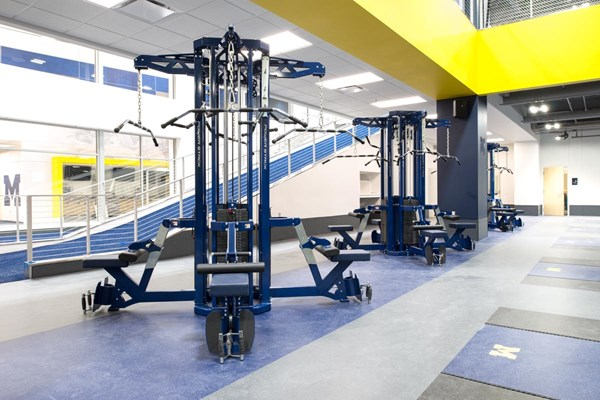 Free standing Power Stacks with Modular Mounts at University of Michigan Olympic Strength Center