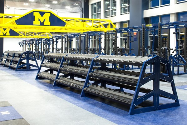 Dumbbell Racks with Pro Style Shelves at University of Michigan Olympic Center