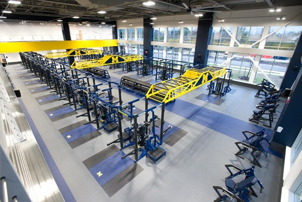 Full room shot of University of Michigan's Olympic Lifting Center.