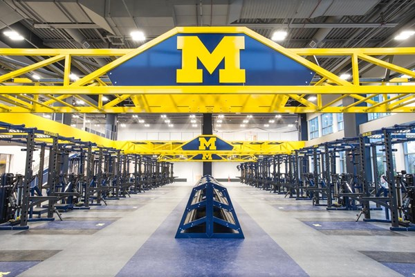 Great shot of the suspended Super Bridge featuring a laser cut University of Michigan block M.