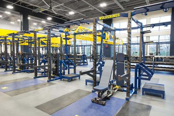 Pendulum Dual Rack XL's with FTS Synchro Benches and Elevated Bumper Storage at University of Michigan Olympic Center.