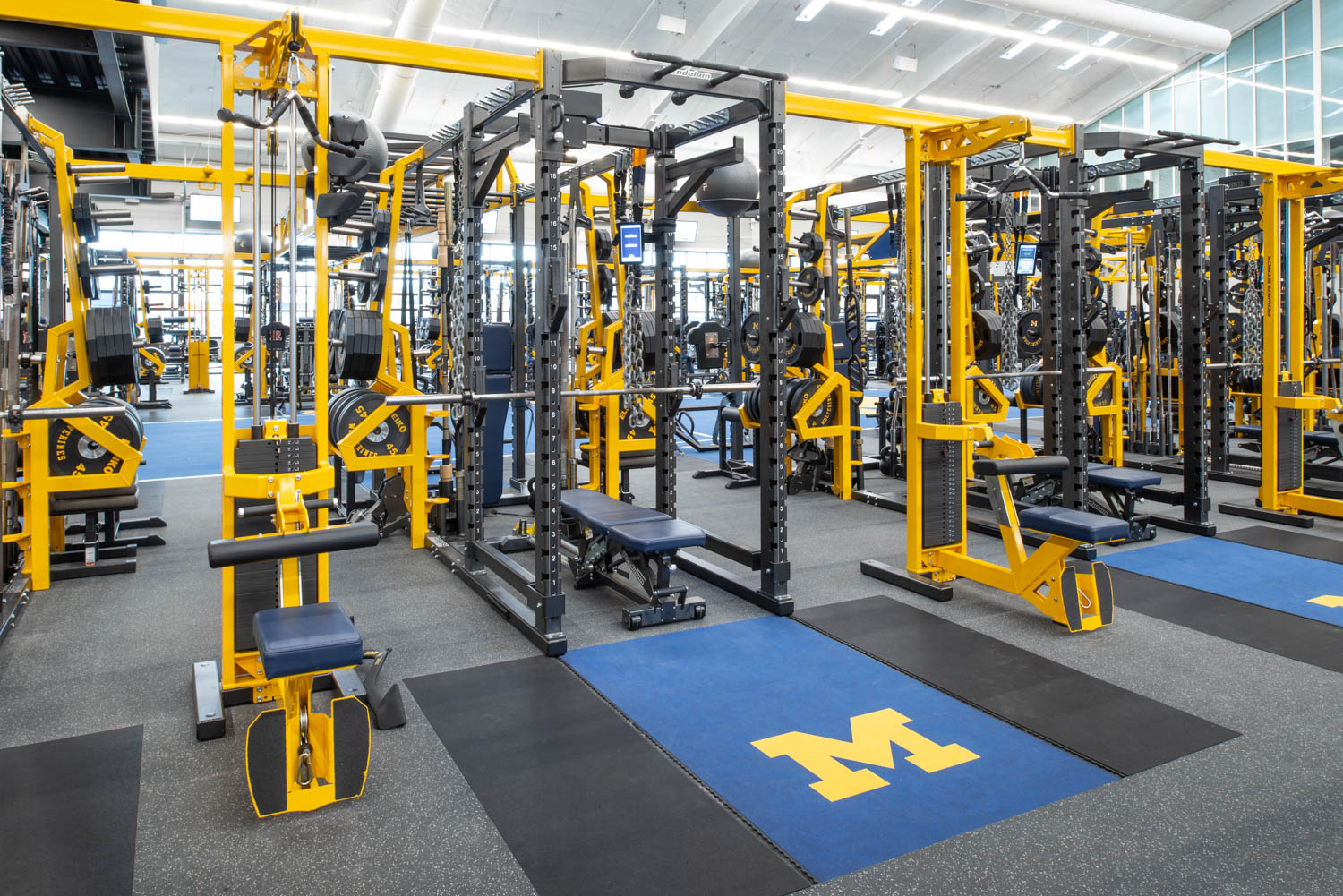Power Stacks and FTS Synchro Benches at University of Michigan football weight room