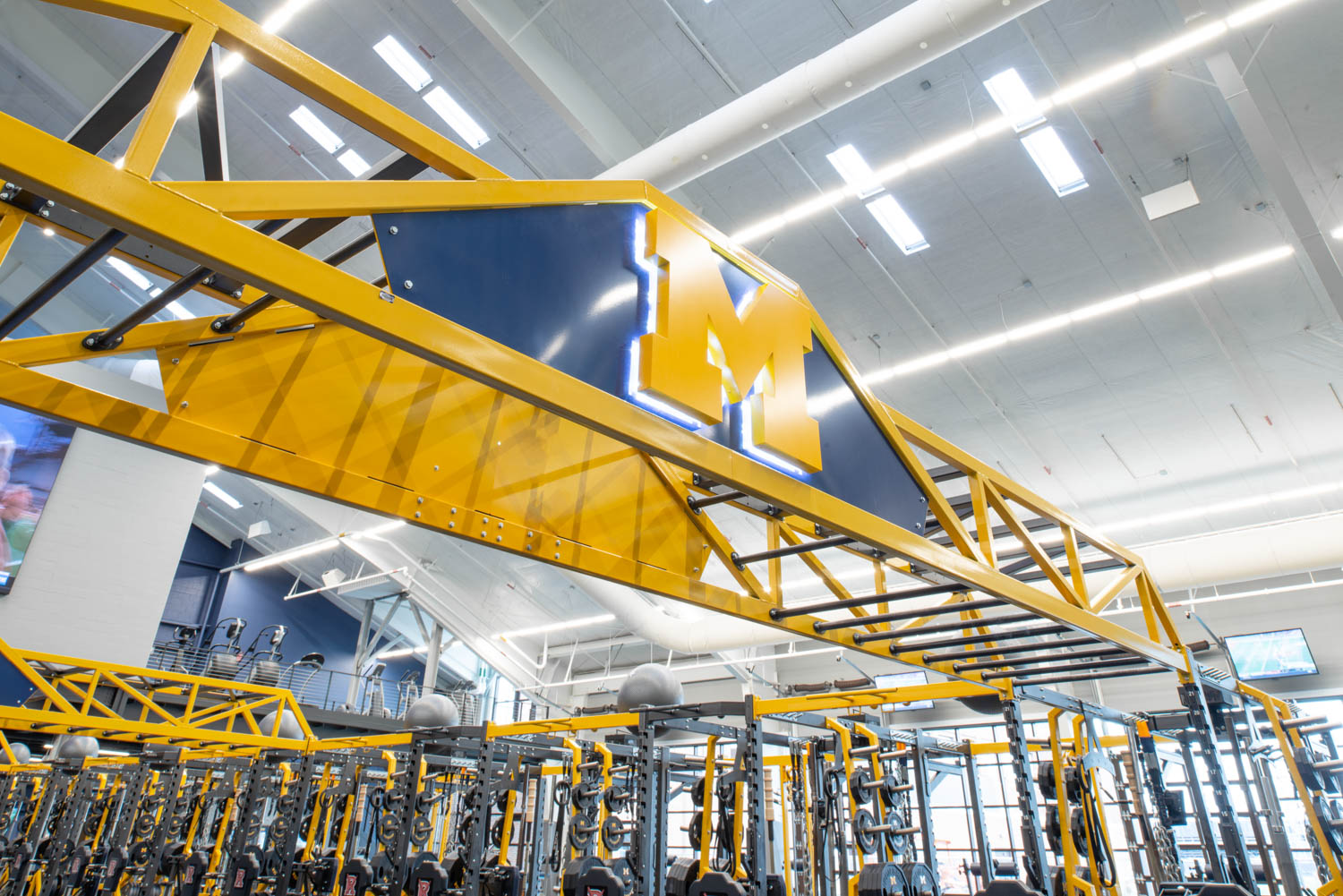 Michigan Logo on the Super Bridge at University of Michigan football weight room