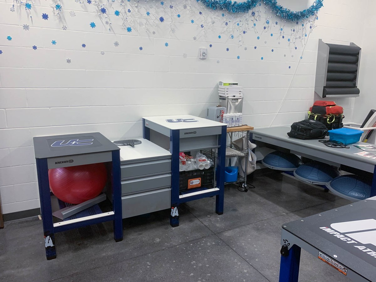 Anchor 2X athletic training tables at Unity Christian School in Michigan